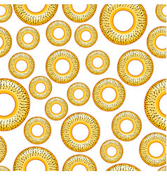 Poppy bagel seamless pattern vector