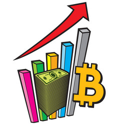 positive business graph with arrow and bitcoin sig vector image vector image