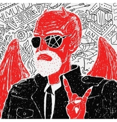red devil biker in jacket vector image