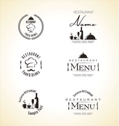 restaurant label set vector image