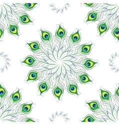 Seamless pattern peacock feathers mandala vector