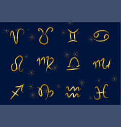 set of golden zodiac signs on a dark background vector image