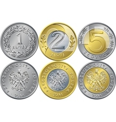 Set Polish Money one two and five zloty coins vector image