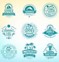 Set retro summer holidays vintage labels or vector