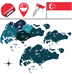 Singapore map with named divisions vector