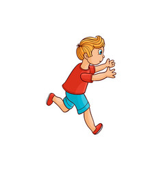 Sketch running boy ranaway kid vector