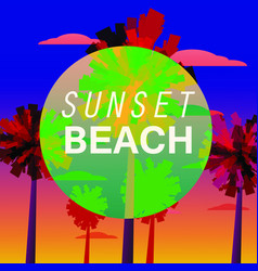 sunset beach flyer baner invitation tropical vector image