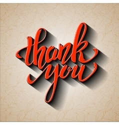 Thank You Hand drawn lettering with shadow effect vector