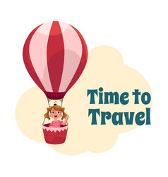 time to travel postcard banner poster with girl vector image