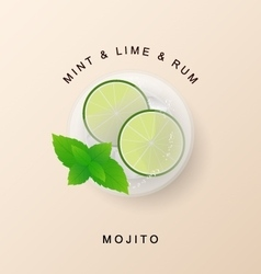 Tradition Summer drink mojito with lime and mint vector