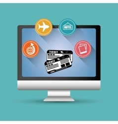 travel ticket airline aircraft computer digital vector image