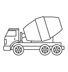 truck concrete mixer icon outline vector image