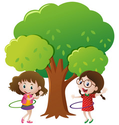 Two girls playing hulahoop under the tree vector