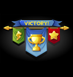 Victory banners flags with golden cup icons vector