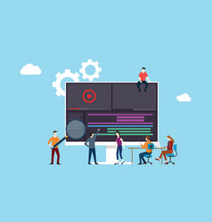 video animation or movie production team working vector image