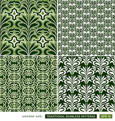 Vintage ornamental green backgrounds set vector image