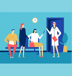 visiting a doctor - colorful flat design style vector image