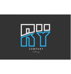 White blue alphabet letter ry r y logo icon design vector