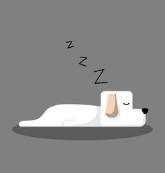 white sleeping dog cartoon for design banner vector image