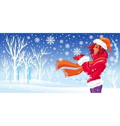 winter girl and snowfal vector image