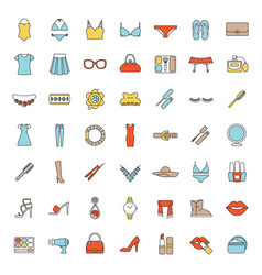 Womens accessories color icons set vector