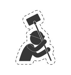 worker man mining tool helmet light figure vector image