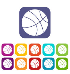 basketball ball icons set flat vector image vector image
