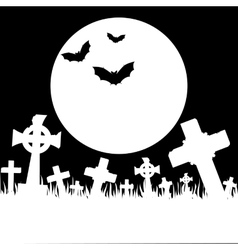 Halloween card with cemetery vector image vector image