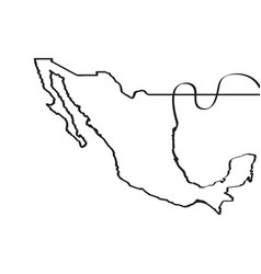 map of mexico continous line vector image vector image