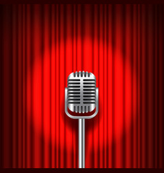 Red curtain and stage with microphone vector image vector image