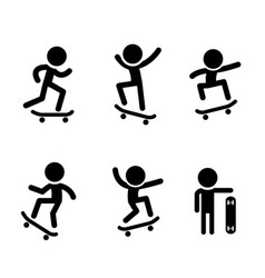skateboarders icons in design vector image