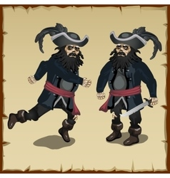 Two image pirate standing and running vector image vector image