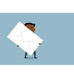 Cartoon businessman carrying a large letter vector image vector image