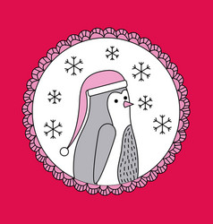 christmas penguin with hat decoration banner vector image