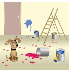 Dog and paint vector image vector image