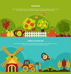 gardening plants banners set vector image vector image