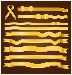 Gold ribbon and bow vector image