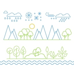 Handdrawn Landscape in Linear Style vector image