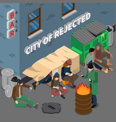 lifestyle of homeless people isometric composition vector image vector image