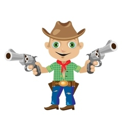 Man with two guns in wild West style vector image
