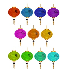 Set of colored Chinese lanterns Chinese New Year vector image