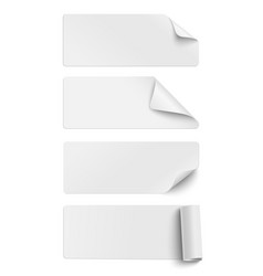 Set of oblong white sticky paper pieces vector