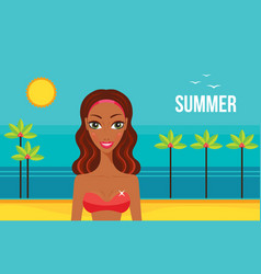 beautiful african american woman on beach summer vector image