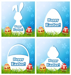 Easter card set with different silhouette text box vector image vector image