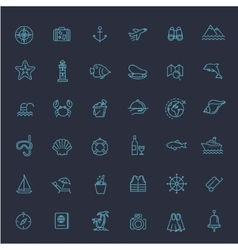 Outline web icon set - journey vacation cruise vector image vector image