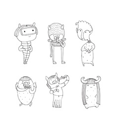Set of cute monsters hand drawn in doodle style vector image vector image