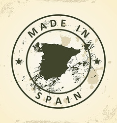 Stamp with map of Spain vector image vector image