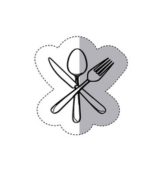 sticker figure cutlery icon vector image