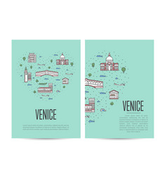 venice travel tour booklet set in linear style vector image
