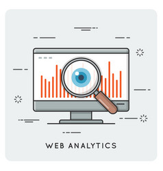 web analytics thin line concept vector image